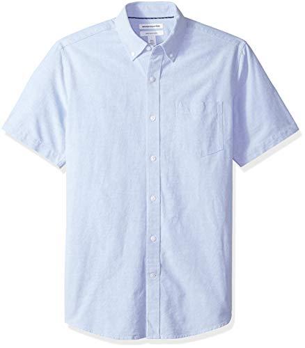 Amazon Essentials Chemise Oxford à manches courtes avec poche, coupe classique, pour homme, Bleu (Blue Blu), US M (EU M)