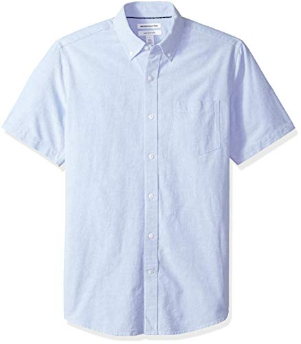 Amazon Essentials Men's Regular-Fit Short-Sleeve Pocket Oxford Shirt, Blue, Medium
