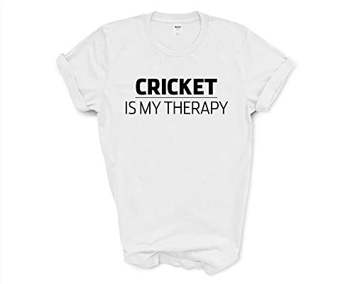 Fellow Friends - Cricket Lover Gift Top Tee Shirt Mens Womens, Cricket is My Therapy T-Shirt XX-Large White