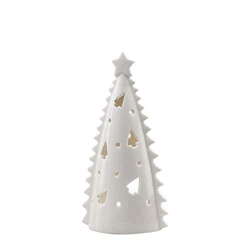 WGGTX portavelas Casa Decoración Accesorios Hueco Cerámica Árbol Estatuillas Tenedor de Velas Crema Color Blanco Nuevo Diseño Star Formas de Estrella (Color : Medium)