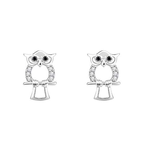 Herzflügel Ohrringe Eulen 925 Silber - Echte Ohrstecker mit Zirkonia