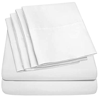 Sweet Home Collection Bed 6 Piece 1500 Thread Count Deep Pocket Sheet Set - 2 EXTRA PILLOW CASES, VALUE, Queen, White