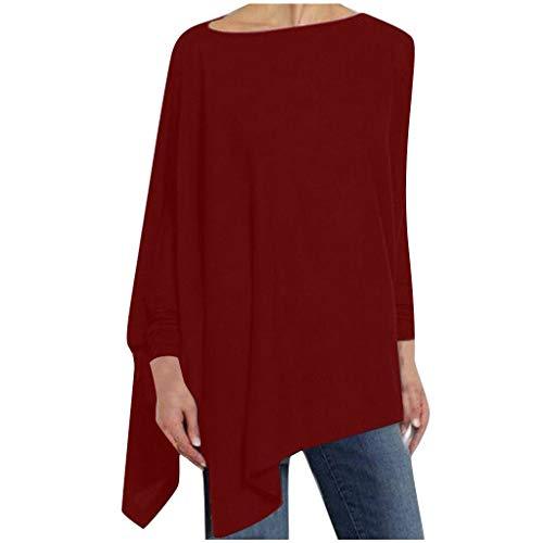 WOZOW T-Shirt à Manches Longues Solide Irrégulière Sweat-Shirt Femme avec Impression Lâche Pull Tops Blouse Tshirt Tunique Asymétrique(Vin,L)