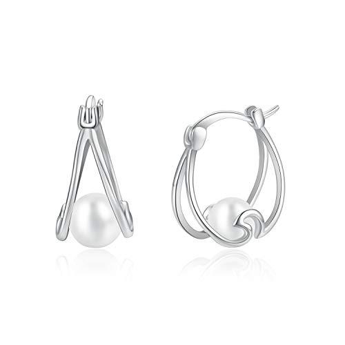 YAFEINI Pendientes de perlas Pendientes de aro pequeño de plata esterlina Pendientes Ocean Wave para niñas Regalos