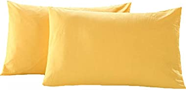 AWLAND Pillowcases Standard Size Pillow Cases Protectors Egyptian Cotton 19 x 29 inch Bedding Pillow Covers Set of 2 - Yellow