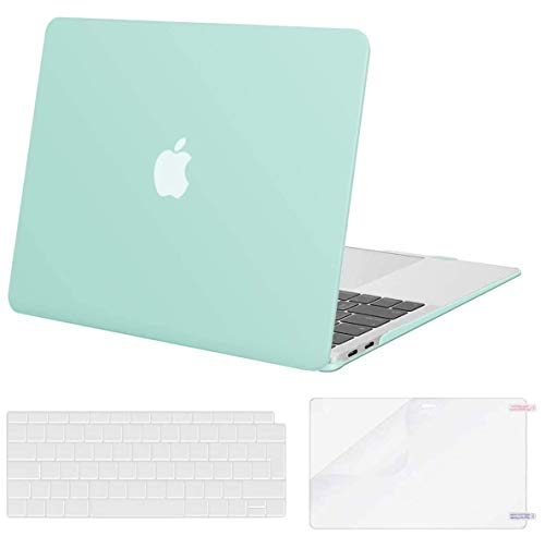 MOSISO Case Compatible con MacBook Air 13 Pollice 2020 2019 2018 Uscita A2337 M1 A2179 A1932 con Retina, Custodia Rigida in Plastica&Tastiera Cover&Proteggi Schermo, Menta Verde