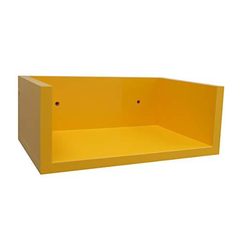 2 Prateleiras para Livros em MDF Amarelo 45cm -Decoração Tendência 001 45