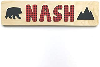 Personalized Wooden Name Puzzle- Buffalo Plaid with Bear and Mountain- Toddler Educational Learning Gift- Made in the USA