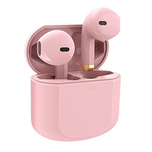 KOSPET Auriculares Bluetooth in-ear, auriculares inalámbricos con rango completo, IPX4, resistentes al agua, Bluetooth 5.1, control táctil para todos los smartphones (rosa)