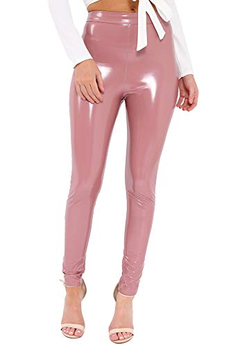 Re Tech UK Leggings elásticos para mujer - Tiro alto - Acabado brillante - Látex