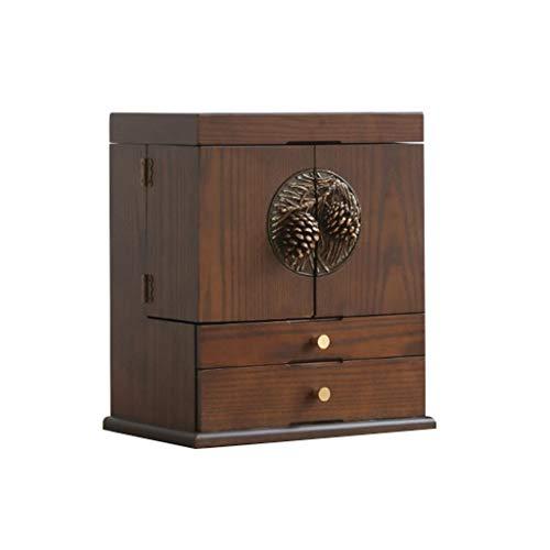 Betty Caja de almacenamiento cosmética, caja de joyería de gran capacidad, estante de escritorio, tocador de madera, para collar, anillo, pulsera para niñas, madres, mujeres