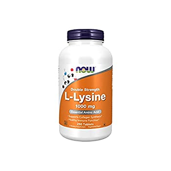 NOW Supplements L-Lysine  L-Lysine Hydrochloride  1,000 mg Double Strength Amino Acid 250 Tablets