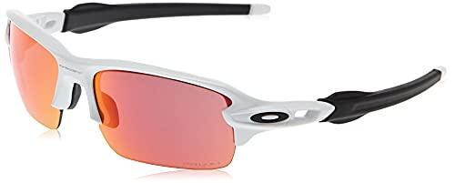 Oakley Youth Kids' OJ9005 Flak XS Polarized Rectangular Sunglasses, Polished White/Prizm Field, 59 mm