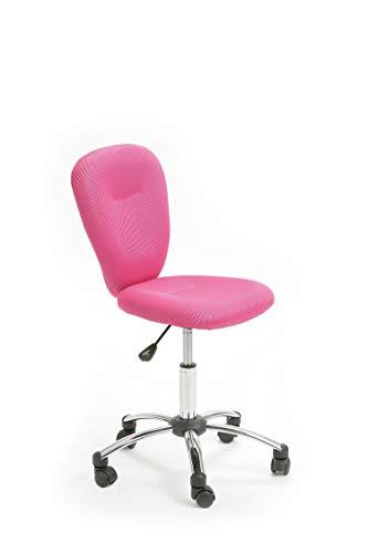 Inter Link Chaise de bureau enfant piètement métal revêtement tissu mesh rose