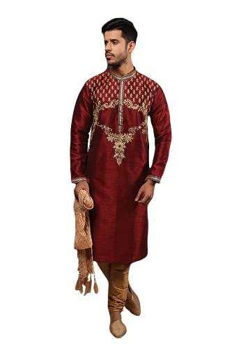 Kurta - Juego de pijama para hombre, diseño tradicional, étnico, indio, real, boda, compromiso, fiesta, ropa, Vino, 48 cm