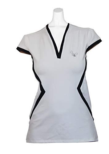 Camiseta de Padel de Mujer Manga Corta Blanca/Marino (S)