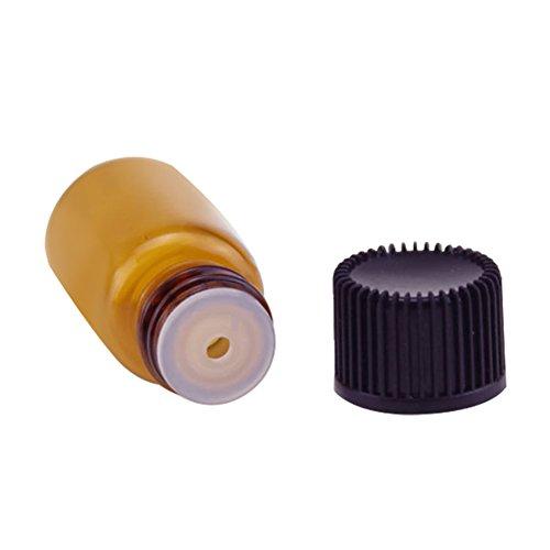 qinlee Mini Botellas de cristal (con perforación Tope biberones marrón cristal Loción...