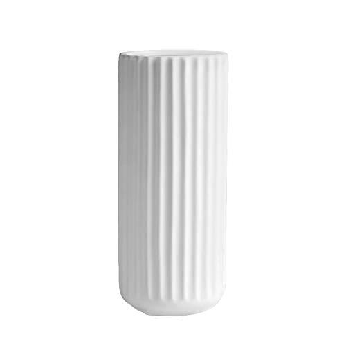CjnJX-Vases C-J-Xin Secado del florero, Cena de la decoración de Mesa de té Blanco Vaso de cerámica Moderna del florero florero Plisado Antideslizante Estable Base florero Jarrones Decorativos