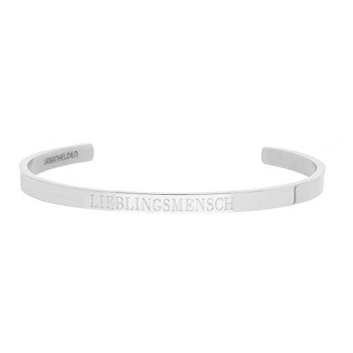 URBANHELDEN - Armreif mit Spruch - Damen Schmuck Inspiration Motivation - Verstellbar, Edelstahl - Armband mit Gravur Lieblingsmensch - Silber