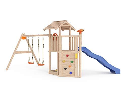 ISIDOR Little Joe Spielturm Baumhaus Schaukel Kletterturm Rutsche 1,2 m Podest Inkl. Sandkasten, Kletterwand und Anbau-Auswahl! (einfacher Anbau)
