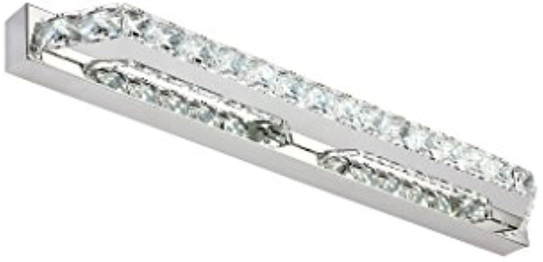 QWM-Badspiegellampe Led Edelstahl Spiegel Vorne Licht Schlafzimmer Badezimmer Beleuchtung Kristall Make-up Lichter QWM-Bad Wandleuchten (Farbe   Warmes Licht-10W 40CM)