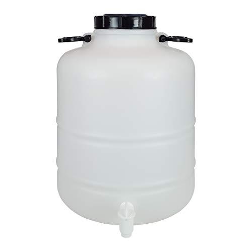 Bidón Garrafa Plástico Alimentario 30 litros con grifo y asas redondo. Boca ancha. Apto para agua consumo humano y todo tipo de líquidos.