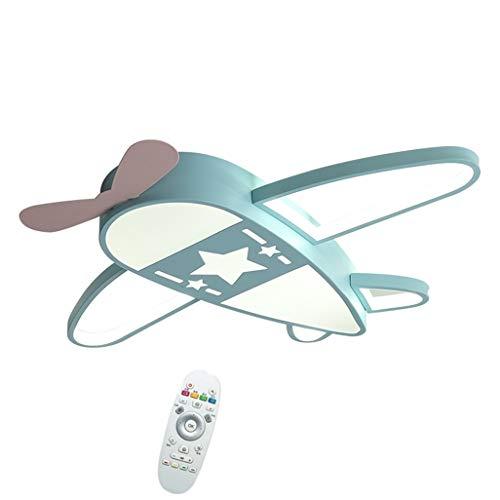 RDYL Deckenleuchte LED Kinderzimmer Cartoon Junge Kreativ Flugzeug Licht Schlafzimmer Deckenlampe Stufenlos Dimmen Mit Fernbedienung Augenschutz Energiesparlampe Dekor 52 Watt,Blau