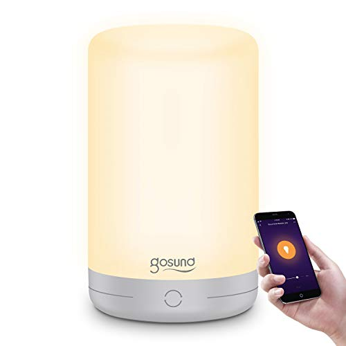 Smart Bedside Table Lamp, Led WiFi Night Light Works with Alexa and Google Home, 350Lm 6W App Voice Control White RGB Colour Changing Dimmable Bedroom for Kids Baby, Timer Schedule(2.4GHz Only)