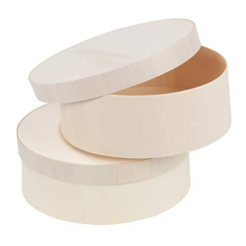 TERRA SELL Premium Boxen mit Deckel im 2-er Set 145x55 mm zum Verzieren, Zeichnen, Bemalen und Basteln - Runde Dekoboxen zum Aufbewahren für Bonbons, Spielzeug, Puzzle u.v.m. (Natur Holz)