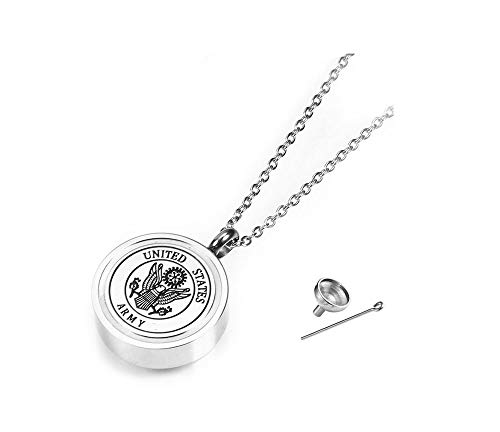 TGLS Army Military Grandpa Daughter Sister Dog Mom Urn Necklaces for Human Ashes Engraved Cremation Jewelry Memorial Keepsake Silver