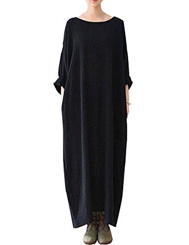 Youlee Mujer Cuello Redondo Batas Algodón Lino Vestir para Verano Negro
