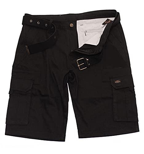 ROCK-IT Apparel Pantaloncini Cargo da Uomo con Cintura Bermuda Vintage con 6 Tasche da chiudere Pantaloni Estivi Corti da Uomo - Taglie S-5XL - Nero L