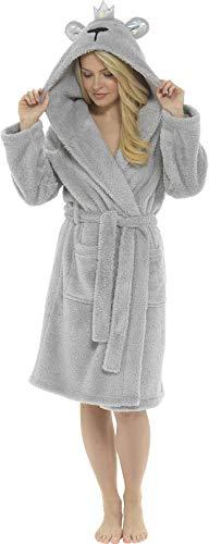 Ladies Foxbury Crown Fleece Dressing Gown LN1065 Grey 16-18