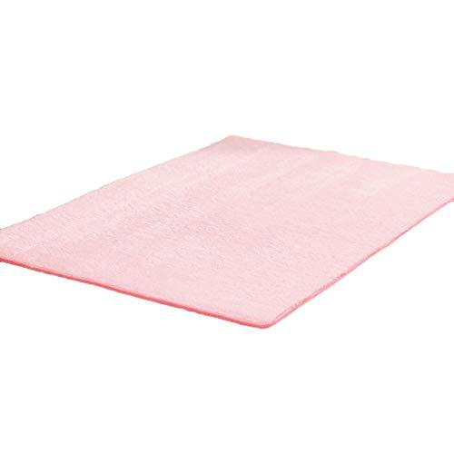 Yiqi Teppich für Wohnzimmer Als Faux Bett-Vorleger oder Matte für Stuhl Sofa, Weich Einfarbig Kurzflor Shaggy-Teppich Modern (Rosa, 100 * 200cm)