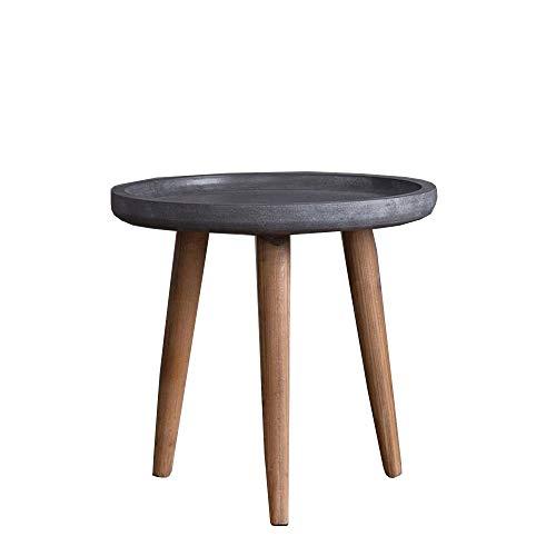 Jcnfa-side tafel Amerikaanse salontafel, Cement kleur, Ronde kleine salontafel, Hebben randen, Houten tafelpoten, eenvoudig te monteren