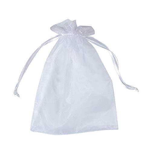 QKFON 50 bolsas de organza con cordón para regalo, colores dulces, bolsa con cordón de cinta para fiestas, bodas, Navidad, San Valentín, aniversario, 5.1 x 7.1 pulgadas