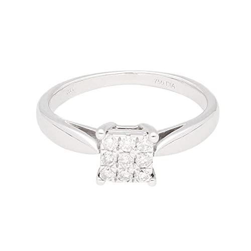 Anillo de lujo para mujer de oro blanco de 18 quilates con diamante de 0,15 quilates (tamaño I) 5 x 5 mm