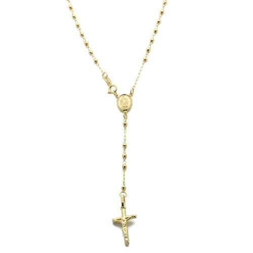 Cadena de oro de 14 ct pequeños tesoros del rosario collar Rosario de cadena 40,64 cm w/de Italia Primavera-anillo de oro amarillo