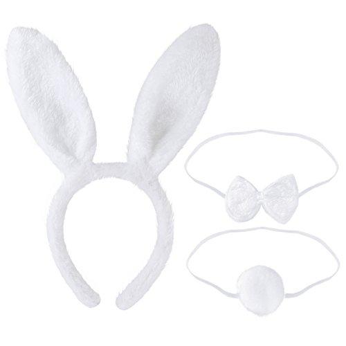 Tinksky Bunny Cosplay Set accesorio de disfraz de conejo Cute Ears diadema cola pajarita para disfraz de fiesta Cosplay, paquete de 3 (blanco)