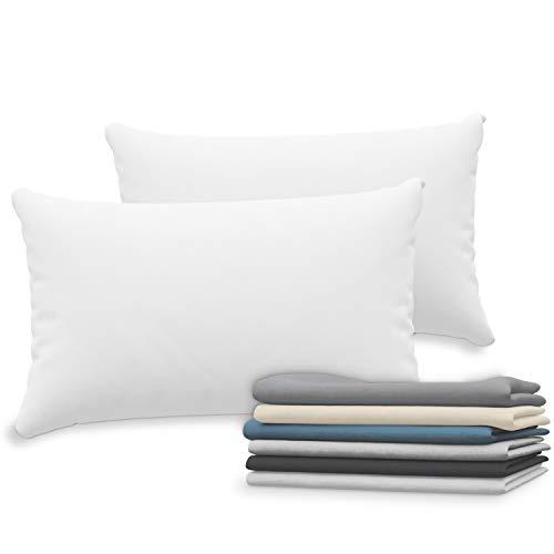 Dreamzie Set de 2 x Taie Oreiller 50x70 cm, Blanc Jersey Coton, 100% Coton - Taie Oreiller 50 x 70 - Housse de Coussin pour Le Lit - Protège Oreiller - Résistant et Hypoallergénique