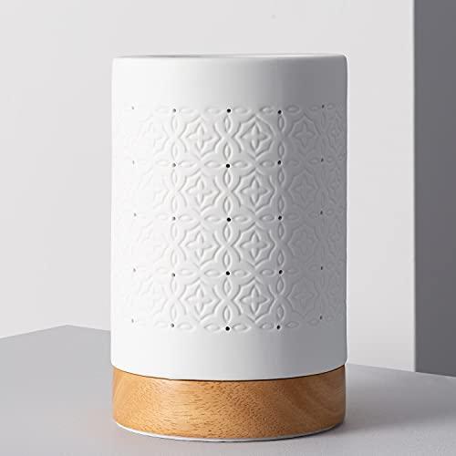 LEDKIA LIGHTING Lámpara de Mesa Kibo 110x110x170 mm Blanco E14 Casquillo Fino Porcelana Decoración Salón, Habitación, Dormitorio