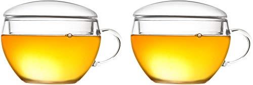 Creano Conjunto de 2 Taza de Té con Tapa, Práctica para Fior di Tèlini o Bolsita de Té, Latte Macchiato, Café | 200ml