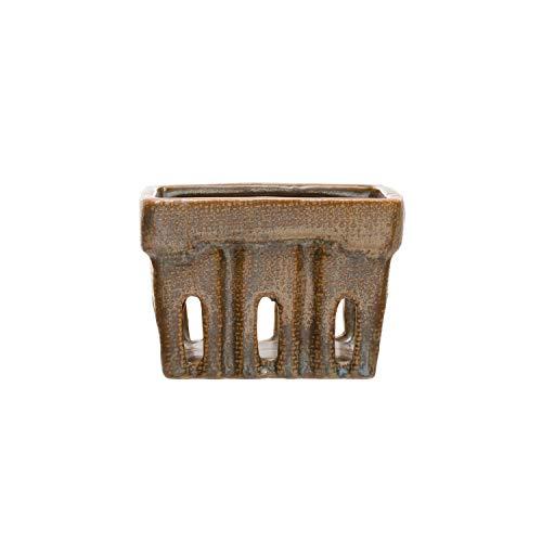 Creative Co-Op Stoneware Berry Basket, Brown