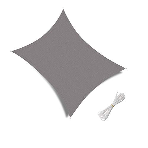 Patio Shack Sun Shade Sail Water Resistant Rectangle 2x3m, 98% UV Block Garden Patio Canopy with Free Ropes, Gray
