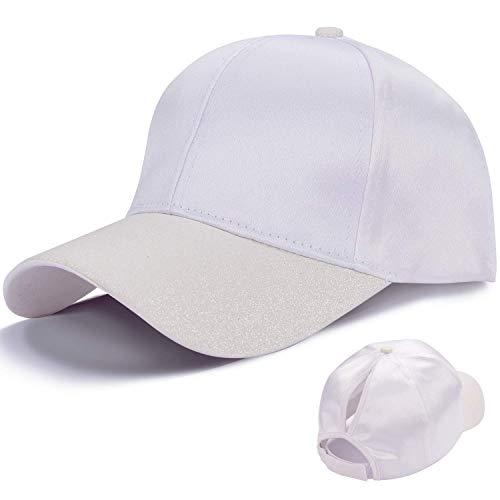 LIVACASA Baseball Damen Mesh Pferdeschwanz Baseball Cap Blingbling Hut Atmungsaktiv Sonnenhut Sonnenschutz Mädchen Kappe Schirmmütze Einheitsgröße Kopfumfang 52-61cm Weiß
