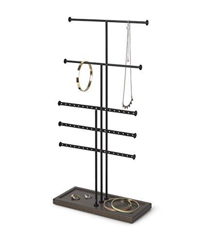 Umbra Trigem Tiered Tabletop Jewelry Organizer Freestanding Hanging Necklace, Earring and Bracelet Display, 5, Black/Walnut