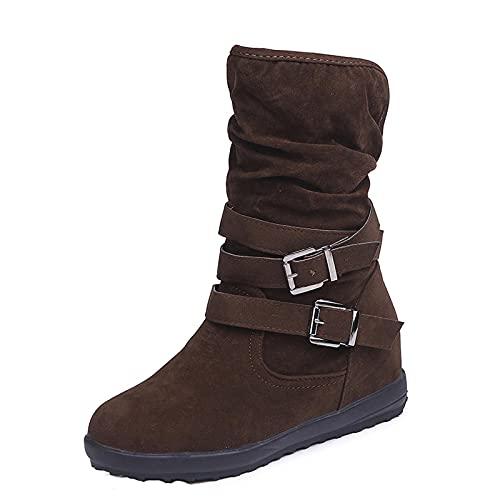 FFENYAN Women's Slouchy Winter Retro Buckle Strap Boots Knee-Length Slip on Footwear Fashion Waterproof Ankle Boot Shoes Brown