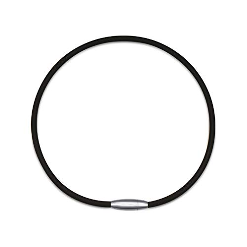 "Power / Energy Necklace [Black] for Sports [""Titanium ION"" Edition] - Thick Silicone / Rubber Cord and [Magnetic Clasp] for Softball, Baseball, Health Benefits [for Men & Boys]"