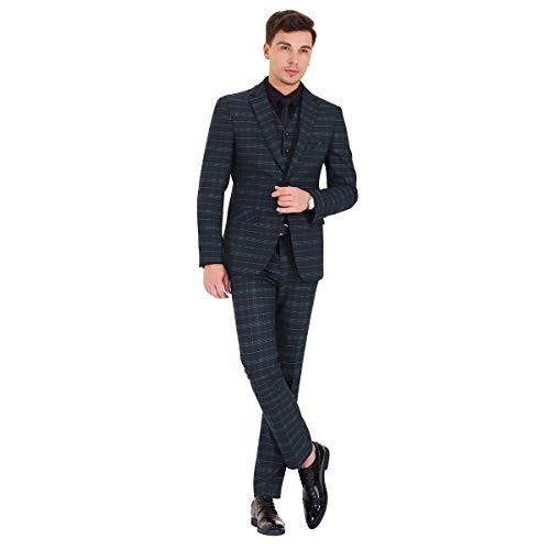 Mens 3 Piece Slim fit Checked Suit Blue/Black Single Breasted Vintage Suits,Medium,Black