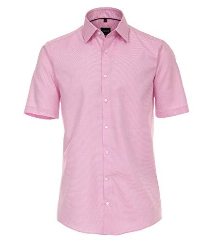 Venti Herren Businesshemd Kurzarm Uni Modern Fit Pinkrot 42